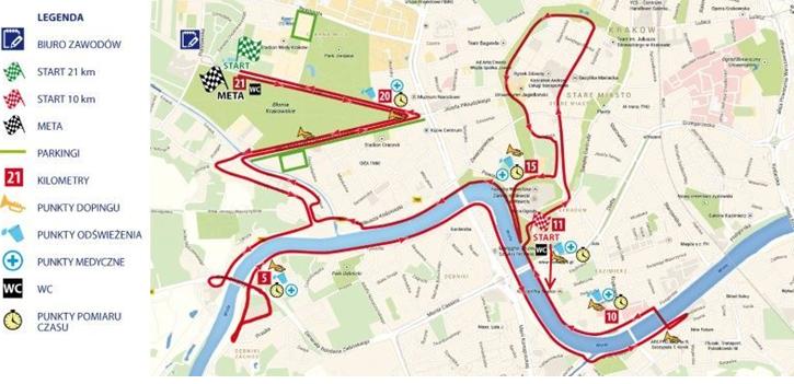 Półmaraton Marzanny - mapa