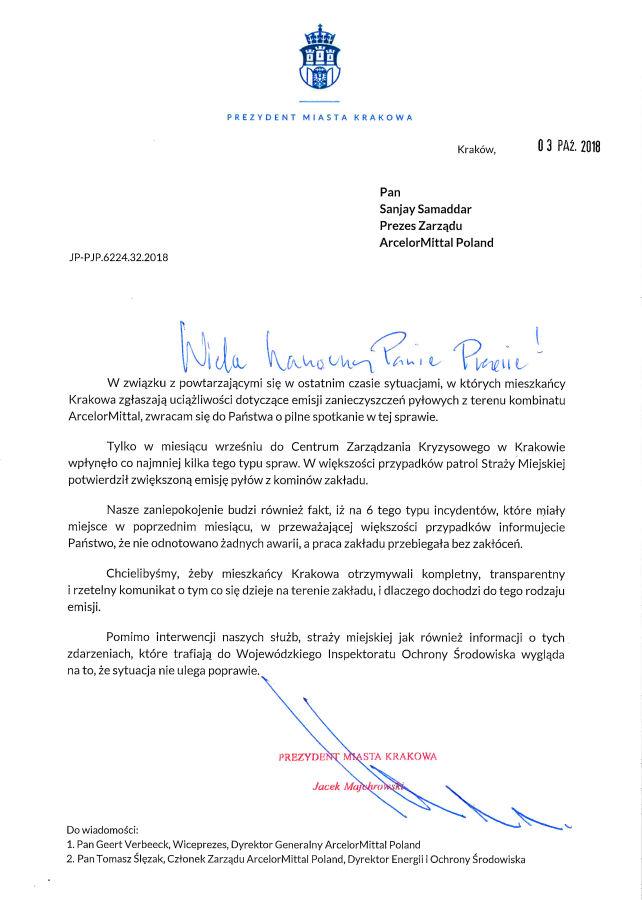 Pismo prezydenta Jacka Majchrowskiego