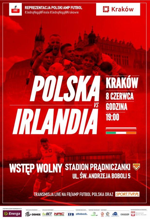Ampfutbol Polska Irlandia Krakow plakat