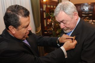Krakow Mayor Jacek Majchrowski receives the Golden Sun of Ecuador